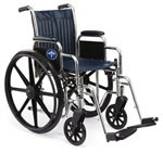 Excel Narrow Wheelchair w/ Removable Desk Length Arms(16in blue)
