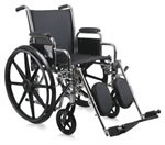 Excel 3000 Wheelchair w/ Desk Legnth Removable Arms and Elevating Foot Rests (18in)