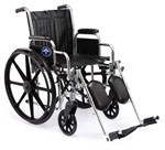 Excel 2000 Wheelchair w/ Removable Desk Length Arms and Elevating Legrests (20in black)