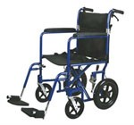 Deluxe Aluminum Transport Wheelchair (19in blue)